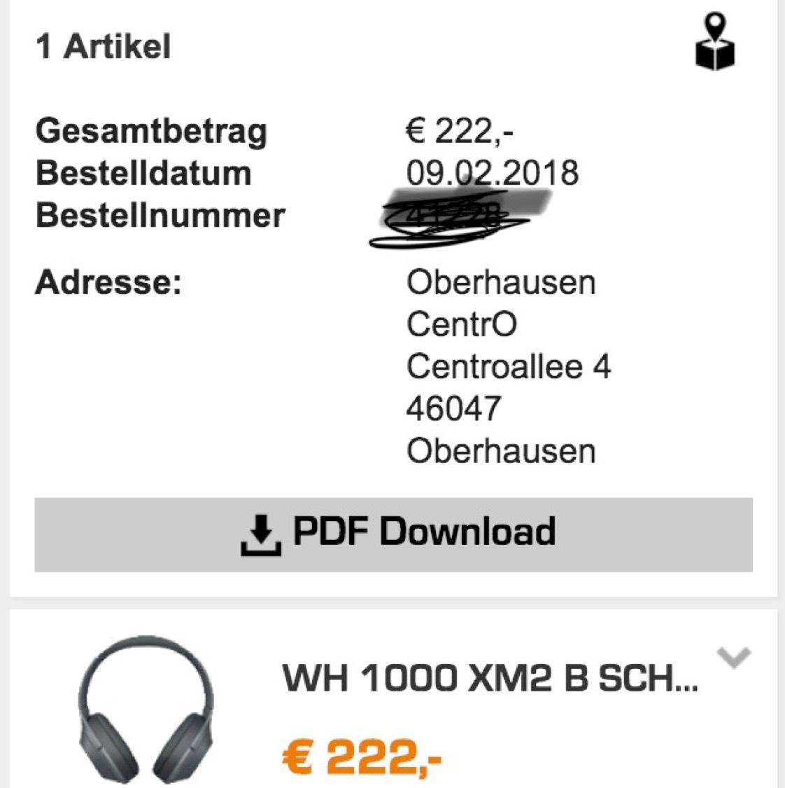 Sony WH-1000 X2 Bluetooth Headphones [Lokal Nürnberg Innenstadt / Oberhausen CentrO]