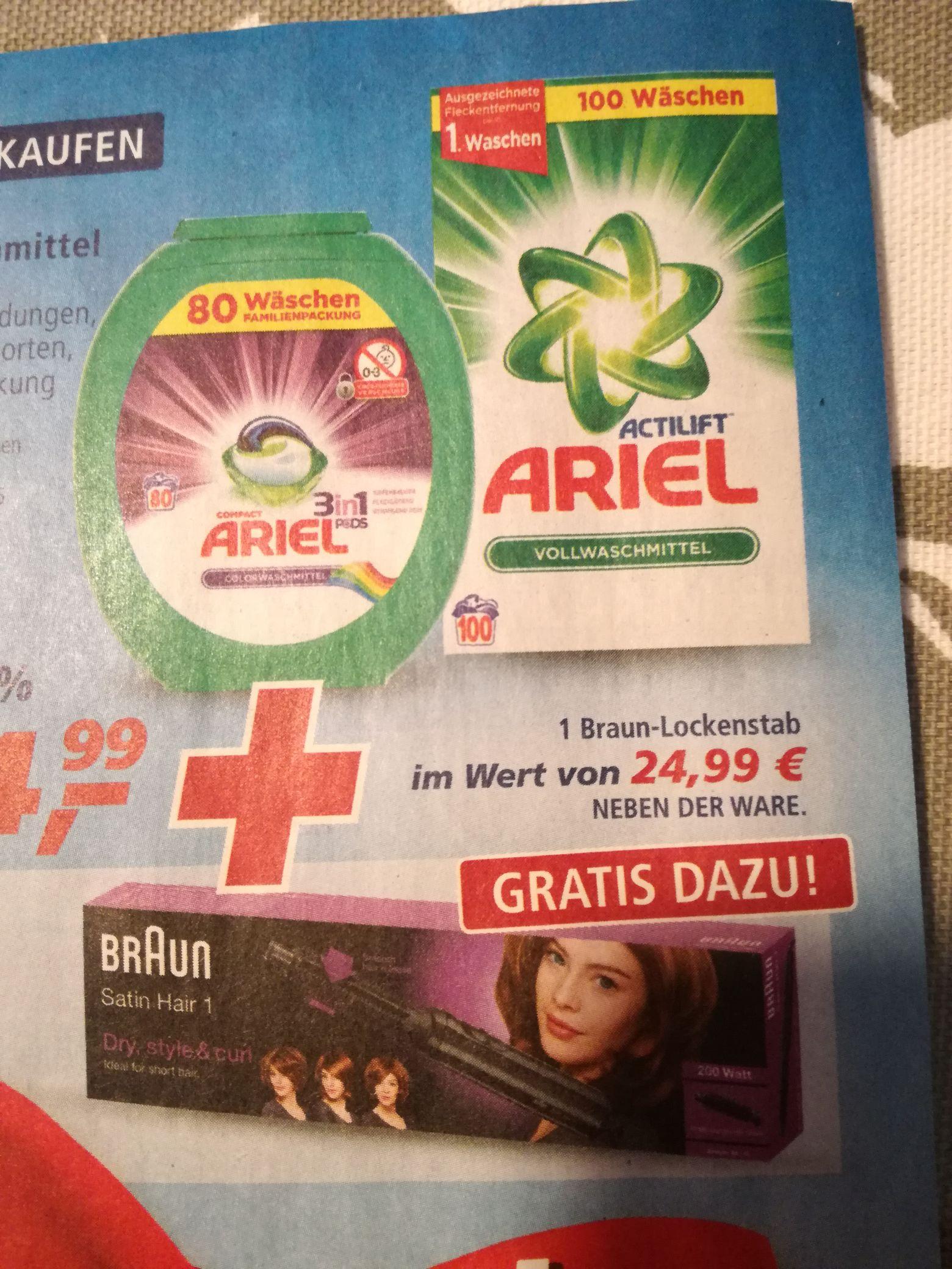Ariel Waschmittel incl. Braun Lockenstab Satin Hair 1