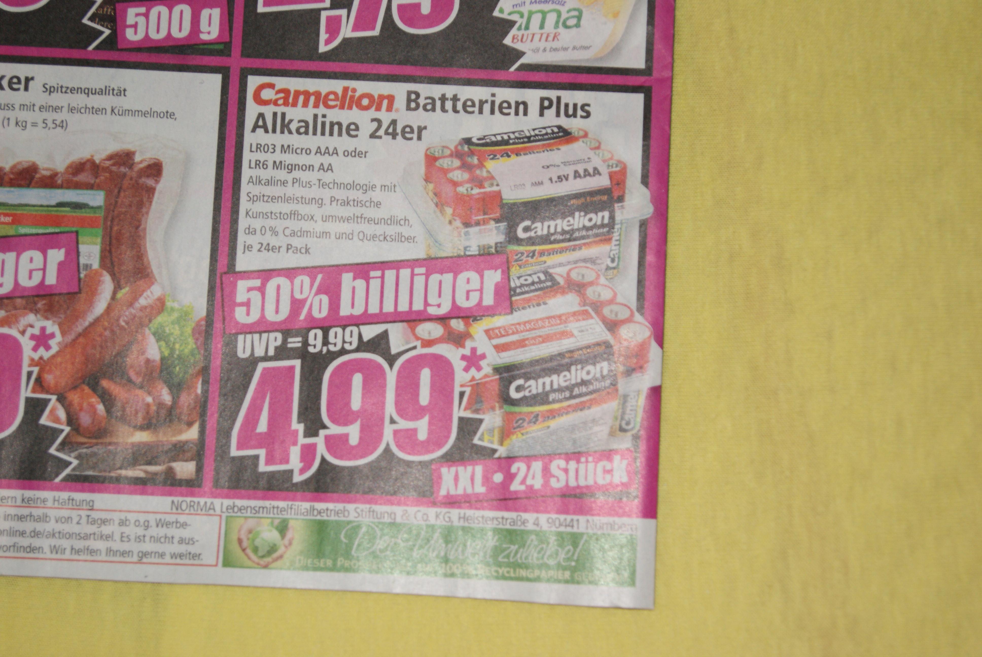 24 Batterien in AA oder AAA für nur 4,99 Euro ab 16.2. bei Norma bundesweit