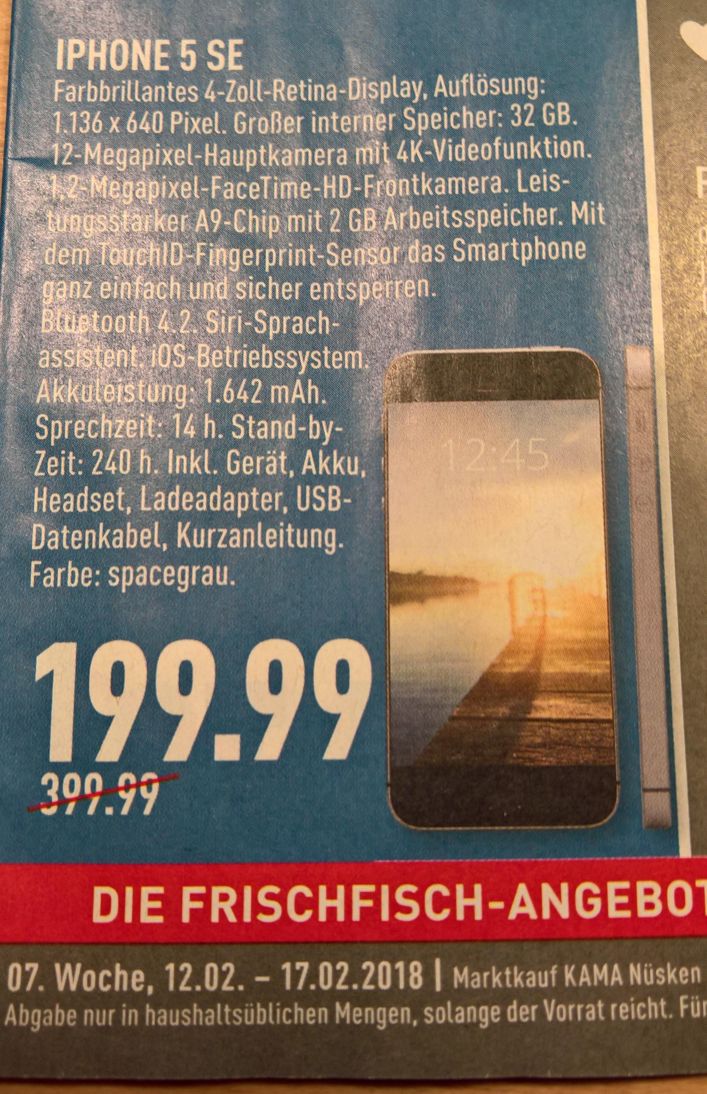 [Lokal] IPhone SE 32 GB spacegrau ab 12.02.2018 bei Marktkauf in 59320 Ennigerloh