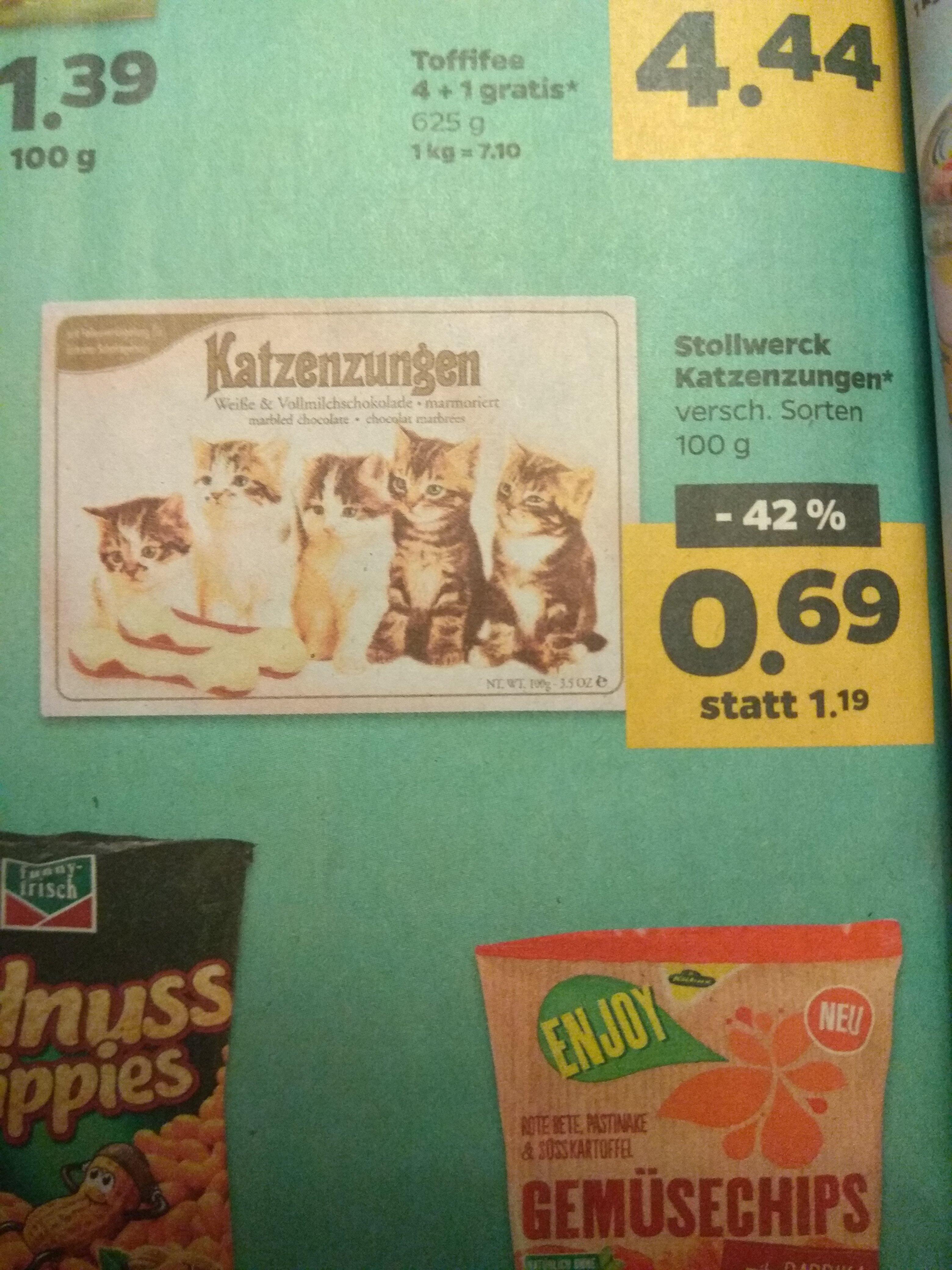 [Netto - mit Hund] Stollwerck Katzenzungen (Schokolade) - versch. Sorten - 100g - 12.02.-17.02.18
