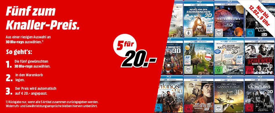 [Media Markt] 5 3D Blu Rays für 20€