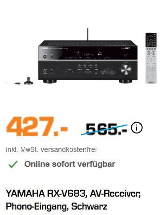 [Saturn - online] YAMAHA RX-V683, AV-Receiver, Phono-Eingang, Schwarz für 427€ versandkostenfrei