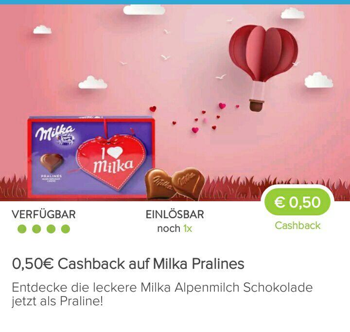 [Kaufland, Rewe mit Marktguru-App] 1x Milka Pralinen für 0,61€