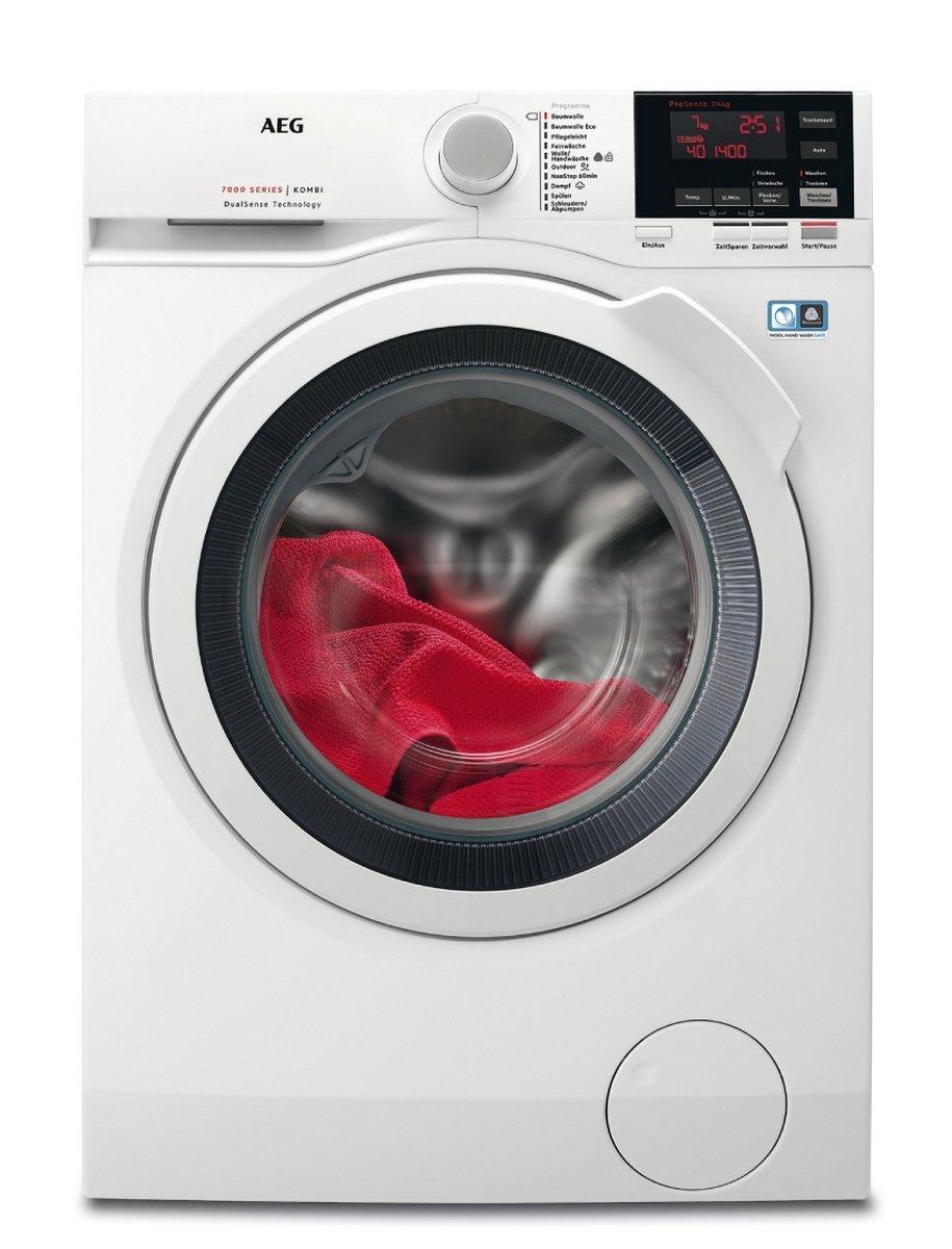 [Amazon Tagesdeal] AEG L7WB64474 Waschtrockner Frontlader / Waschmaschine (7 kg) mit Trockner (4 kg) / sparsamer Waschautomat und Wäschetrockner mit Material- und Mengenautomatik / Energieklasse A (938,0 kWh/Jahr) / weiß