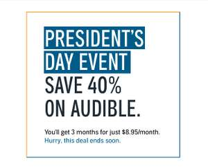 Audible.com Abo 40% Off / President´s Day Event / Come Back & Save / 3 Monate