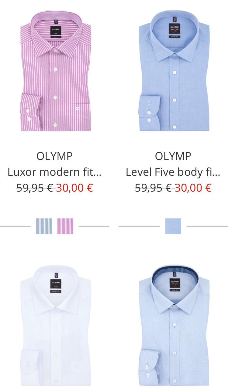3 x Olymp Hemden (Luxor, Level 5, No6) für 80 €, 1x Hemd 26,66 € inkl. Versand - viele Größen + Farben