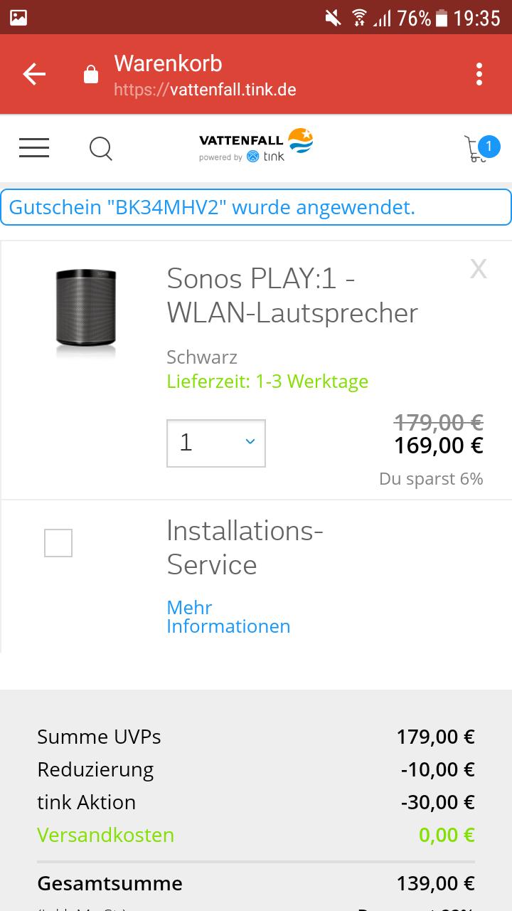 Für Vattenfall Kunden: Sonos 30€ Gutschein