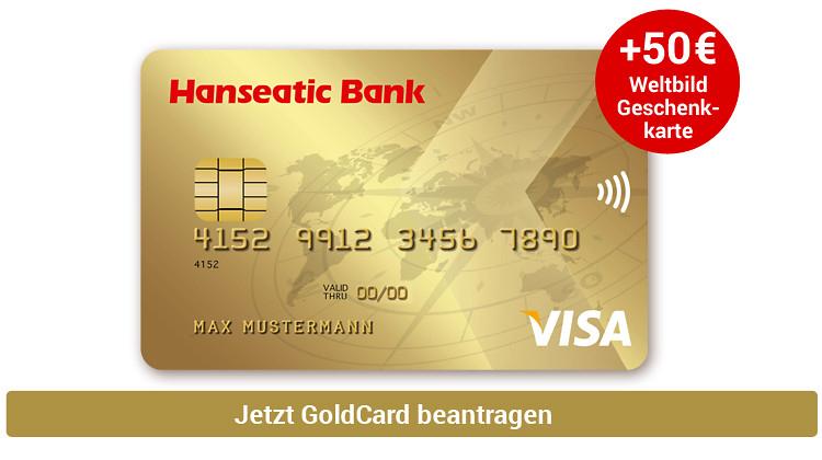 Hanseatic Bank Gold VISA Kreditkarte inkl. 50,- € Weltbild-Gutschein