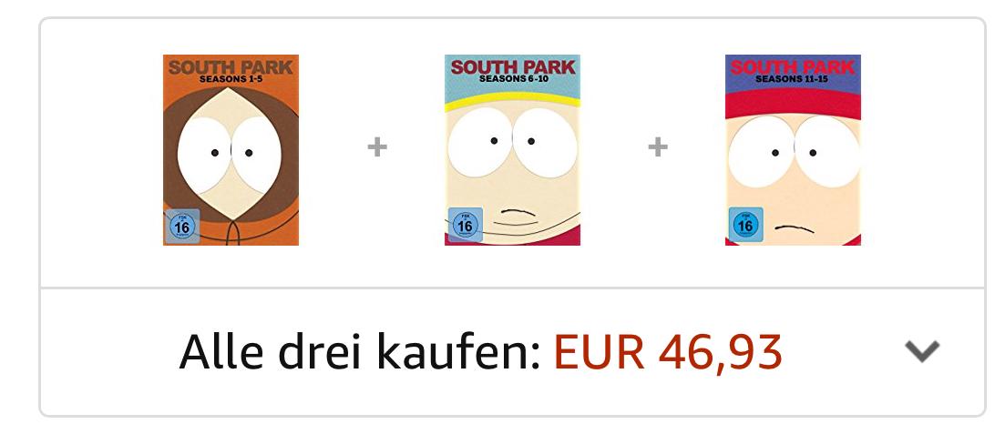 South Park Staffeln 1-10 auf 30 DVDs bei Amazon für 9,97€ je Box