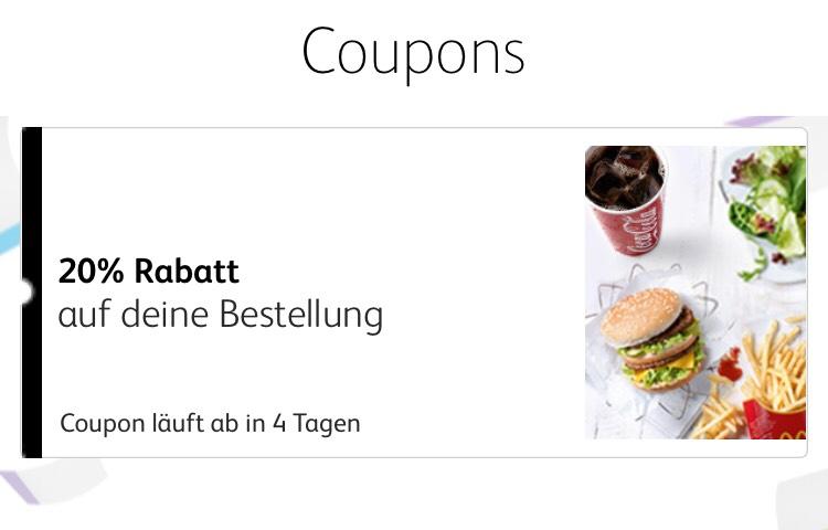 20% Rabatt bei McDonalds in der offiziellen App