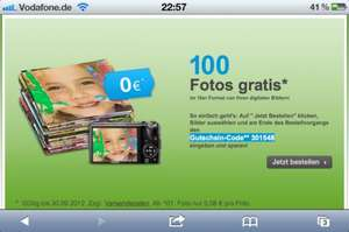 100 Fotos gratis + 2,99€ Versand !!
