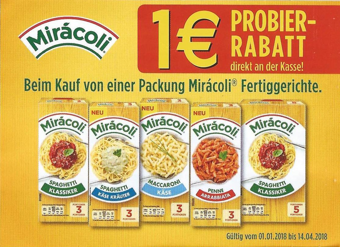 1 € Rabatt auf Miracoli Spaghetti / Maccaroni 3 Portionen & 5 Portionen bis 14.04.18