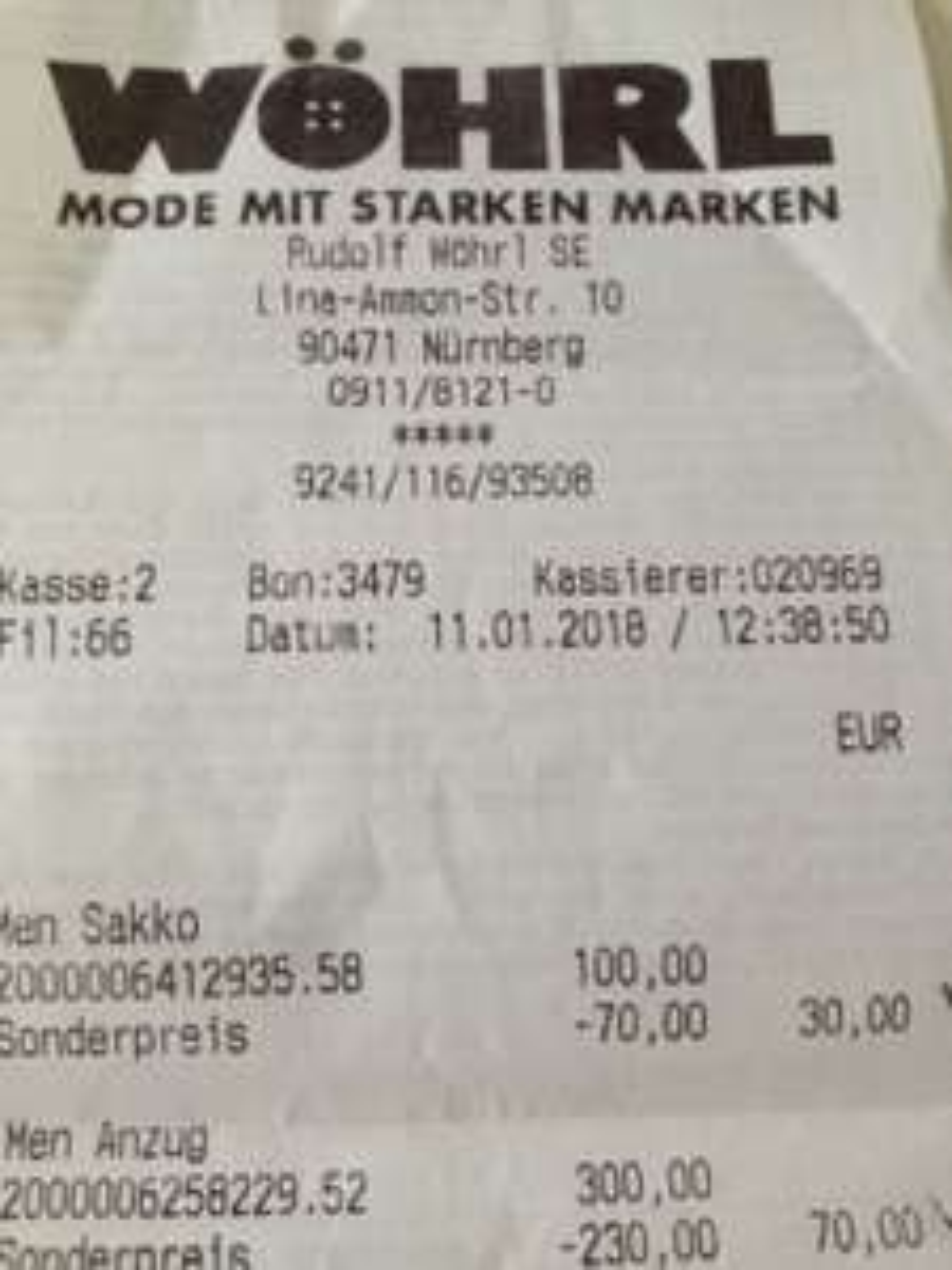 Wöhrl in Nürnberg (Lina-Ammon-Str. 10) Räumungsverkauf - Sakko 30 €, Anzug 70 €, Hemd 10 €