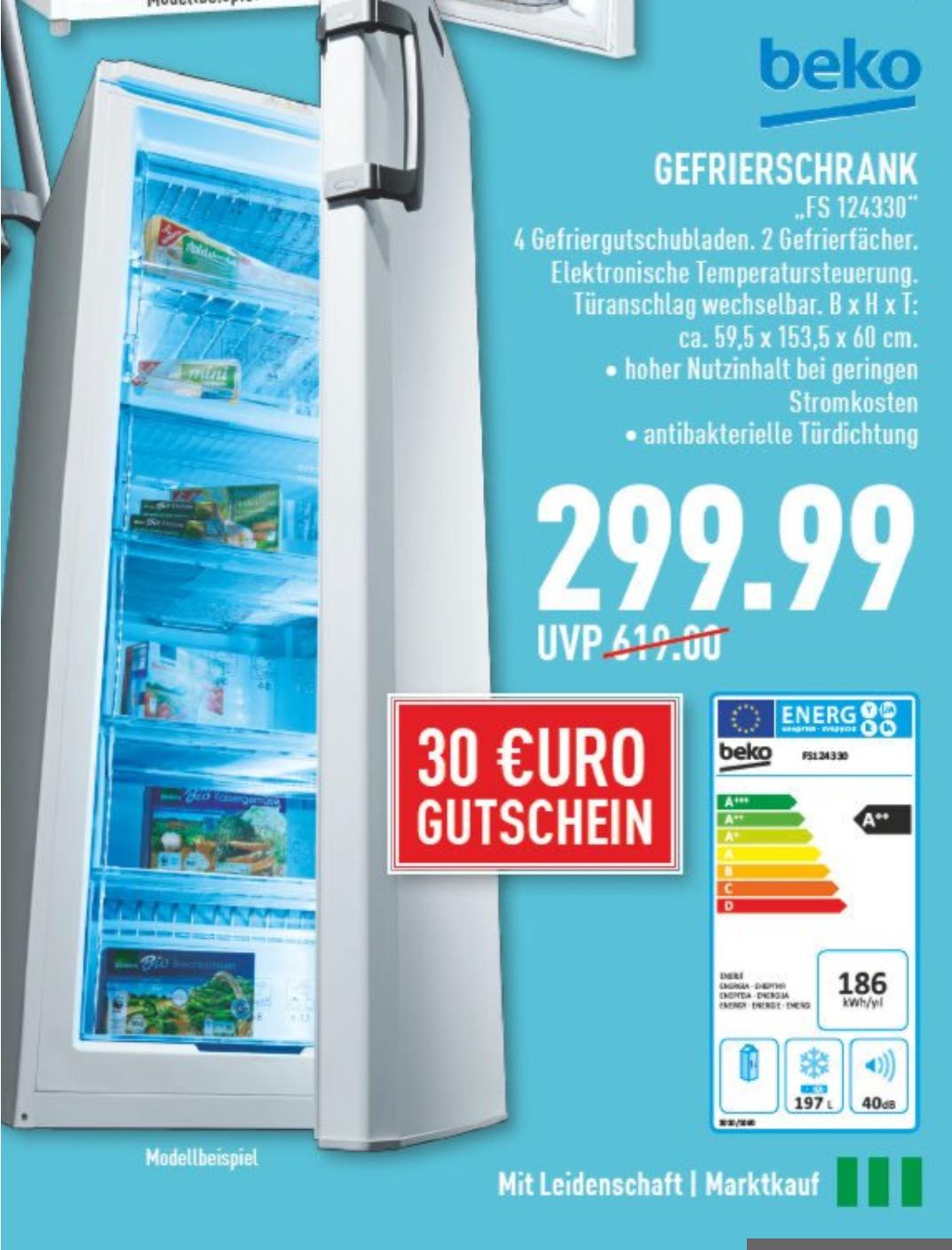[Marktkauf] Beko Gefrierschrank FS124330. A++ 197 Liter. 299.00€ + zusätzlich 30€ Einkaufsgutschein