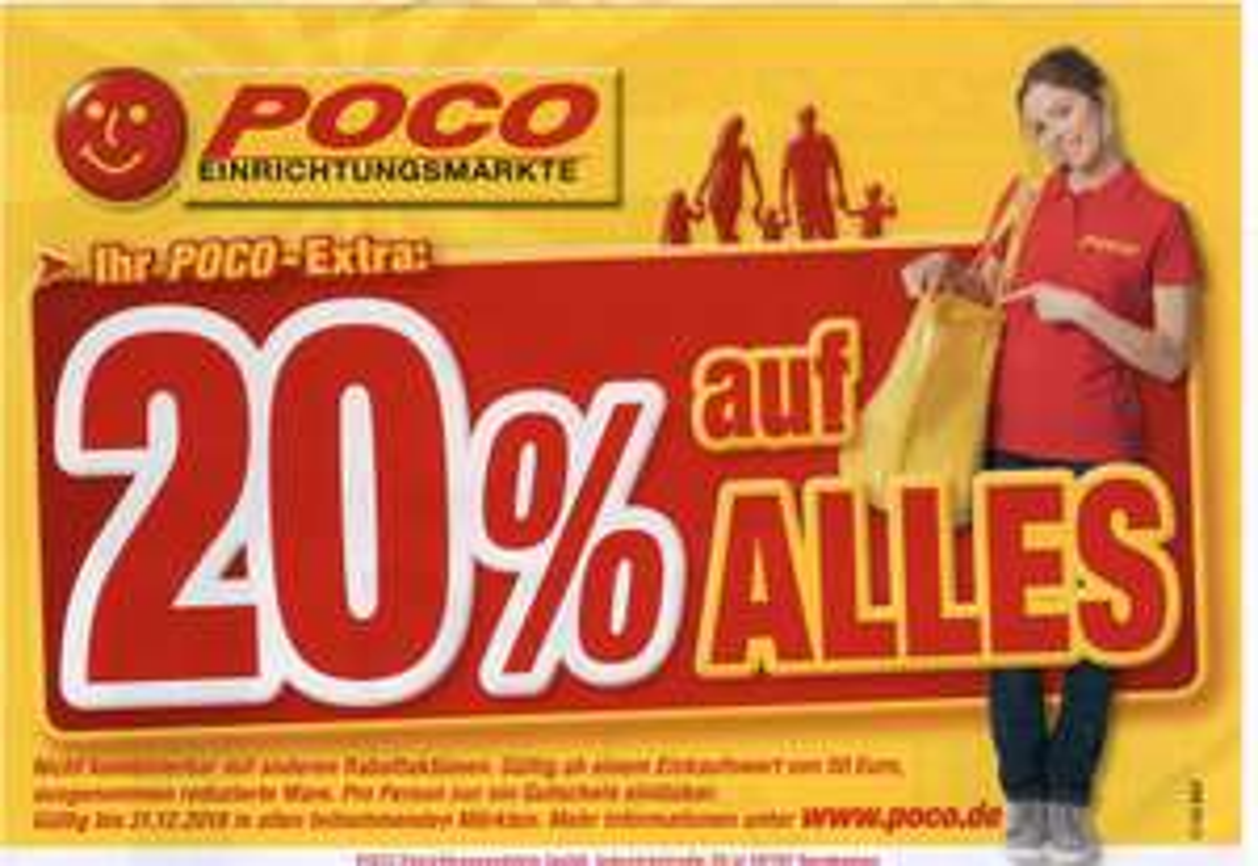 Bis Ende 2018 gültig! 20% bei Poco Einrichtungsmärkten ab 50 Euro Einkaufswert, ausgenommen reduzierte Ware dank LEG & Poco