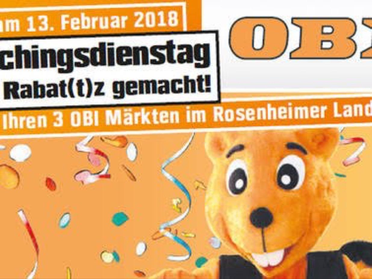 [Obi, Rosenheim-Lokal] 15 % Rabatt auf alles. Nur am 13. Feb. 2018