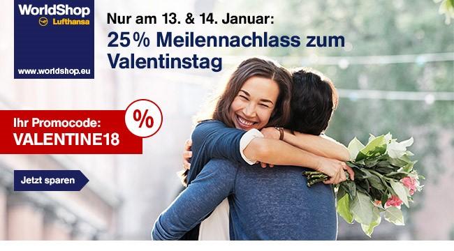 [Lufthansa WorldShop] 25% Meilennachlass zum Valentinstag am 13. und 14.02.2018