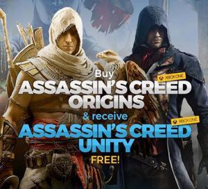 Assassin's Creed: Origins (Xbox One Digital Code) + Assassin's Creed: Unity (Xbox One Digital Code) für 26,74€ (CDKeys)