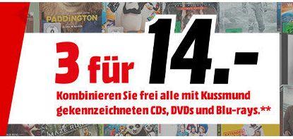 Multibuy Aktion 3 für 14,-€ auf CDs, DVDs und Blu-rays *Auswahl von über 1000 Titeln* Aktion ist Online! Preis bei Abholung [Mediamarkt Liebesbeweis]