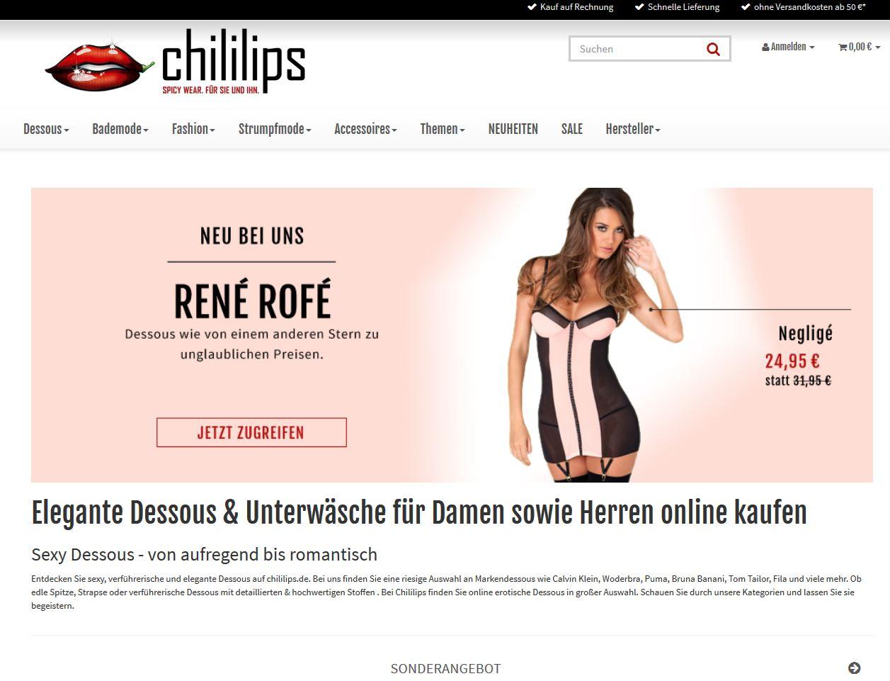 33% auf Dessous + sexy Fashion bei chililips - nur bis 14/2/18 gültig -auch auf SALE