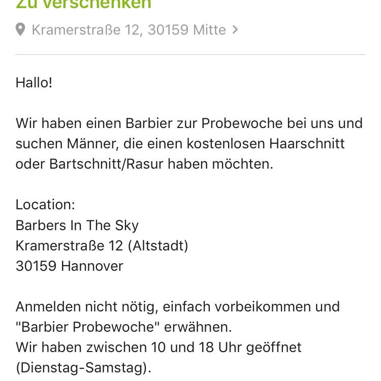 Regional Hannover: Gratis Haarschnitt und Bart Rasur