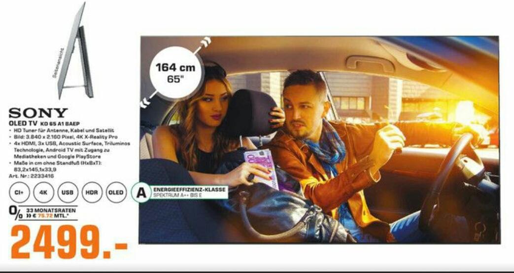 SONY OLED TV KD 65 A1 BAEP für nur 2499€ bei Saturn (Lokal Frankfurt)