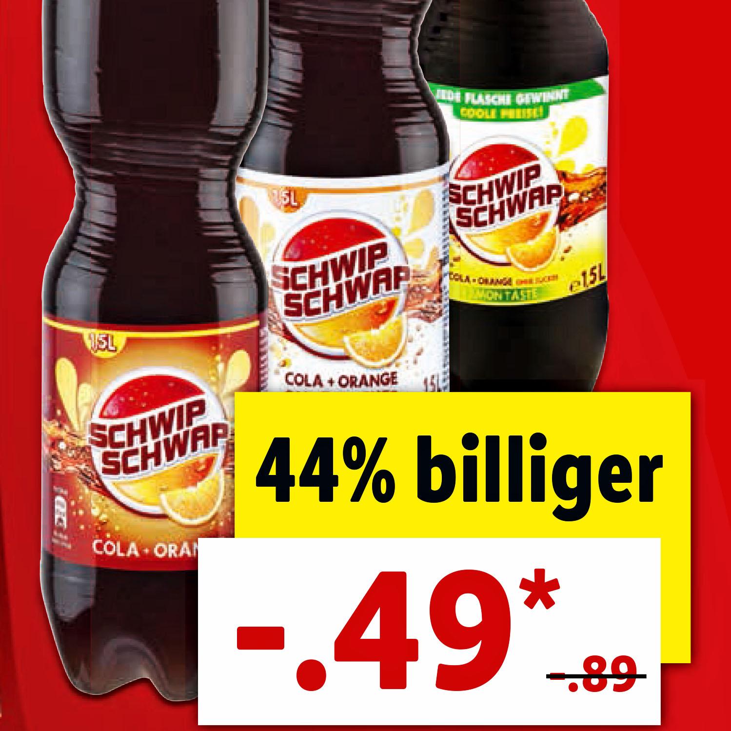 Schwip Schwap je 1,5 l Flasche für nur 0,49 € bei (Lidl)