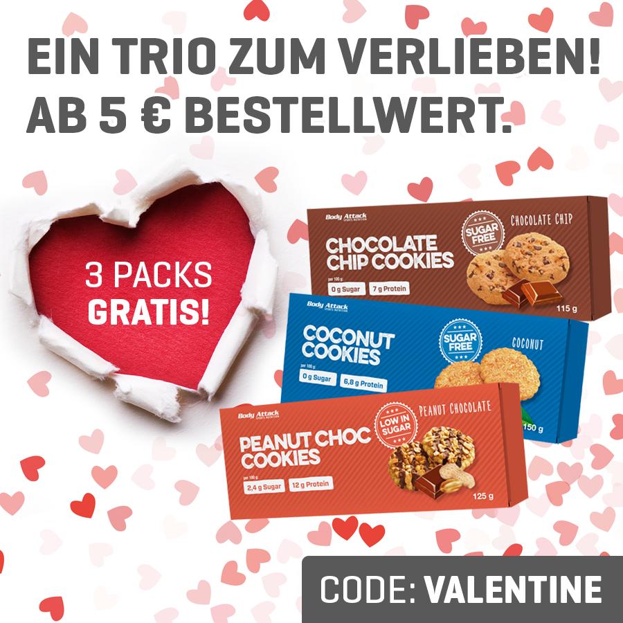 3 Packungen Kekse gratis / 5€ Mindestbestellwert /4,99€ Versand (Body Attack)
