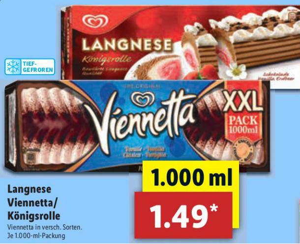 Langnese Eis Viennetta oder Königsrolle in der 1.000ml XXL-Packung für 1,49 € @ Lidl ab 19.02.