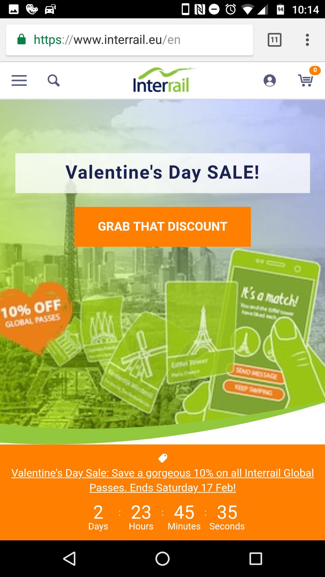 Interrail Valentinstagsdeal: 10% auf alle global Pässe