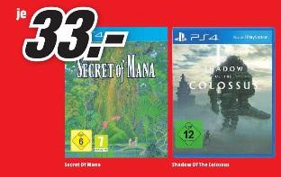(Lokal) Secret of Mana / Shadow of the Colossus PS4 (DE-Versionen) für je 33,00 € @ Media Markt Mainz
