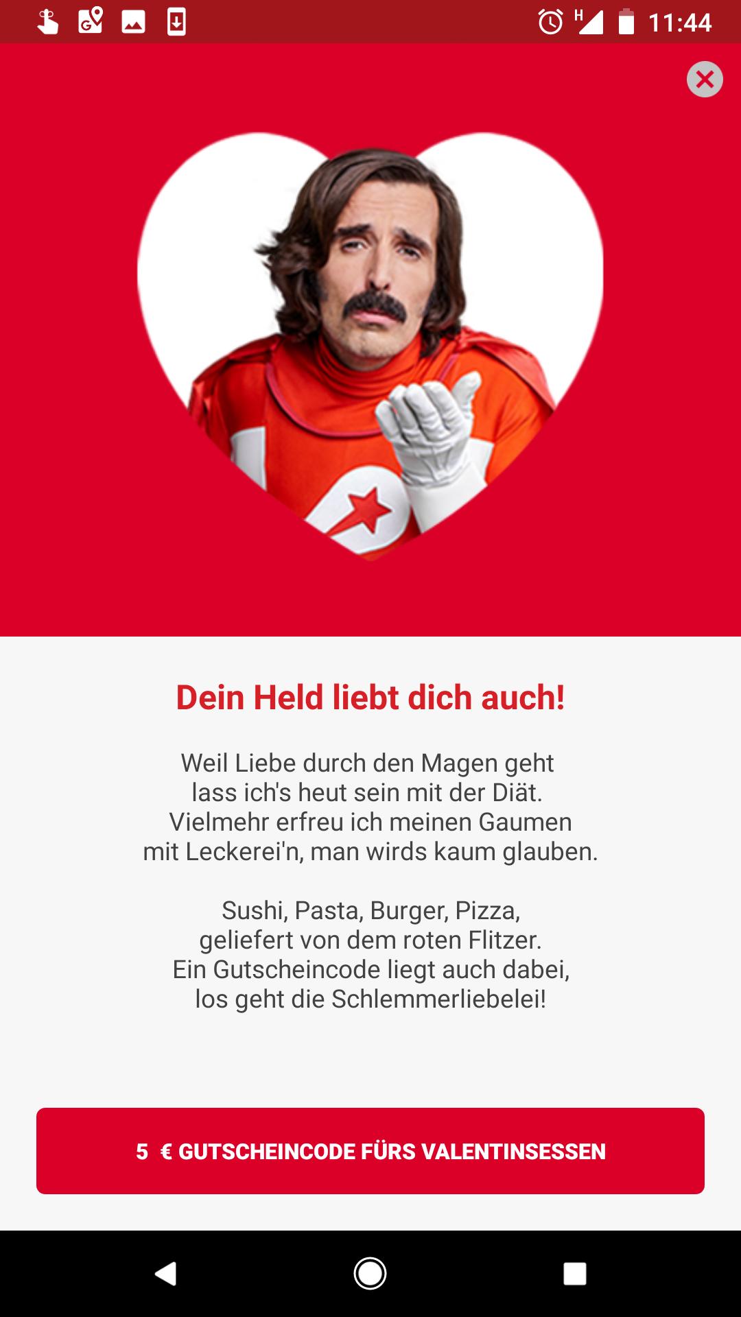 Lieferheld App öffnen und 5€ Gutschein erhalten