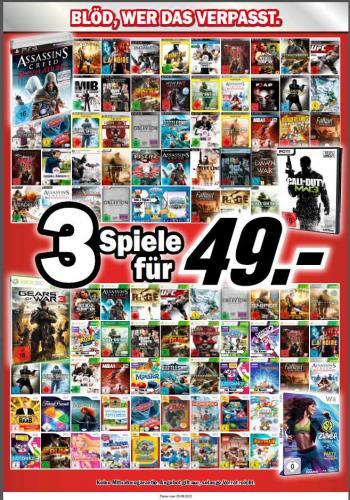 3 Spiele (PC, PS3, Wii, XBOX 360) für 49,- @ Mediamarkt