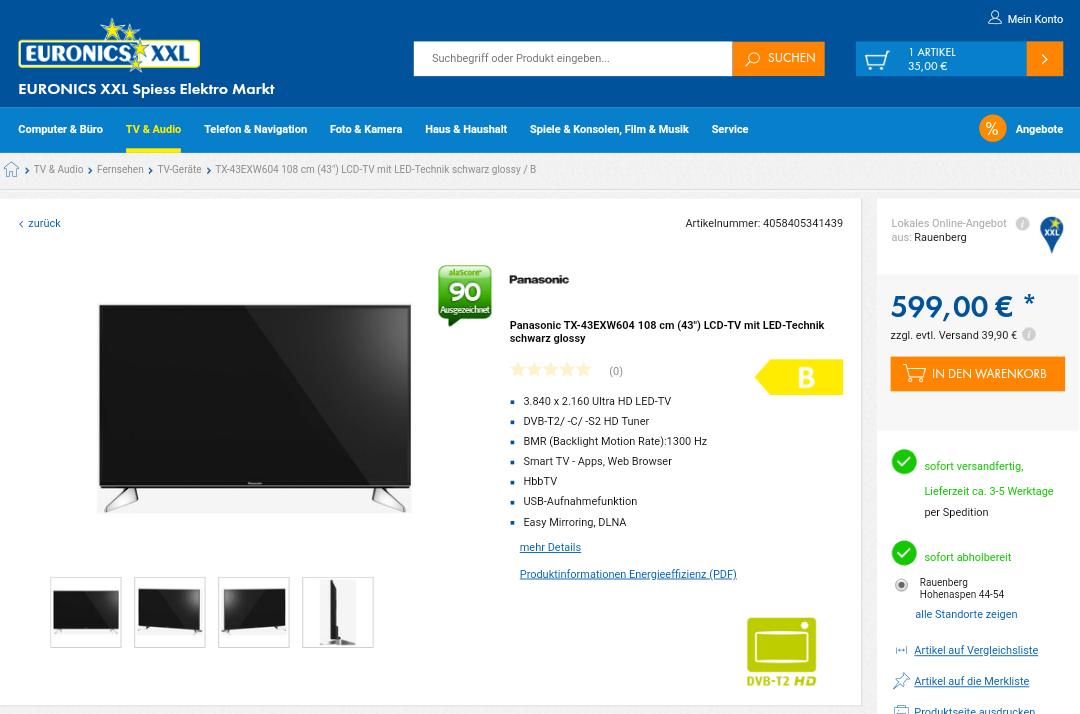 Panasonic TX-43 EXW 604 für 599€ bei Euronics