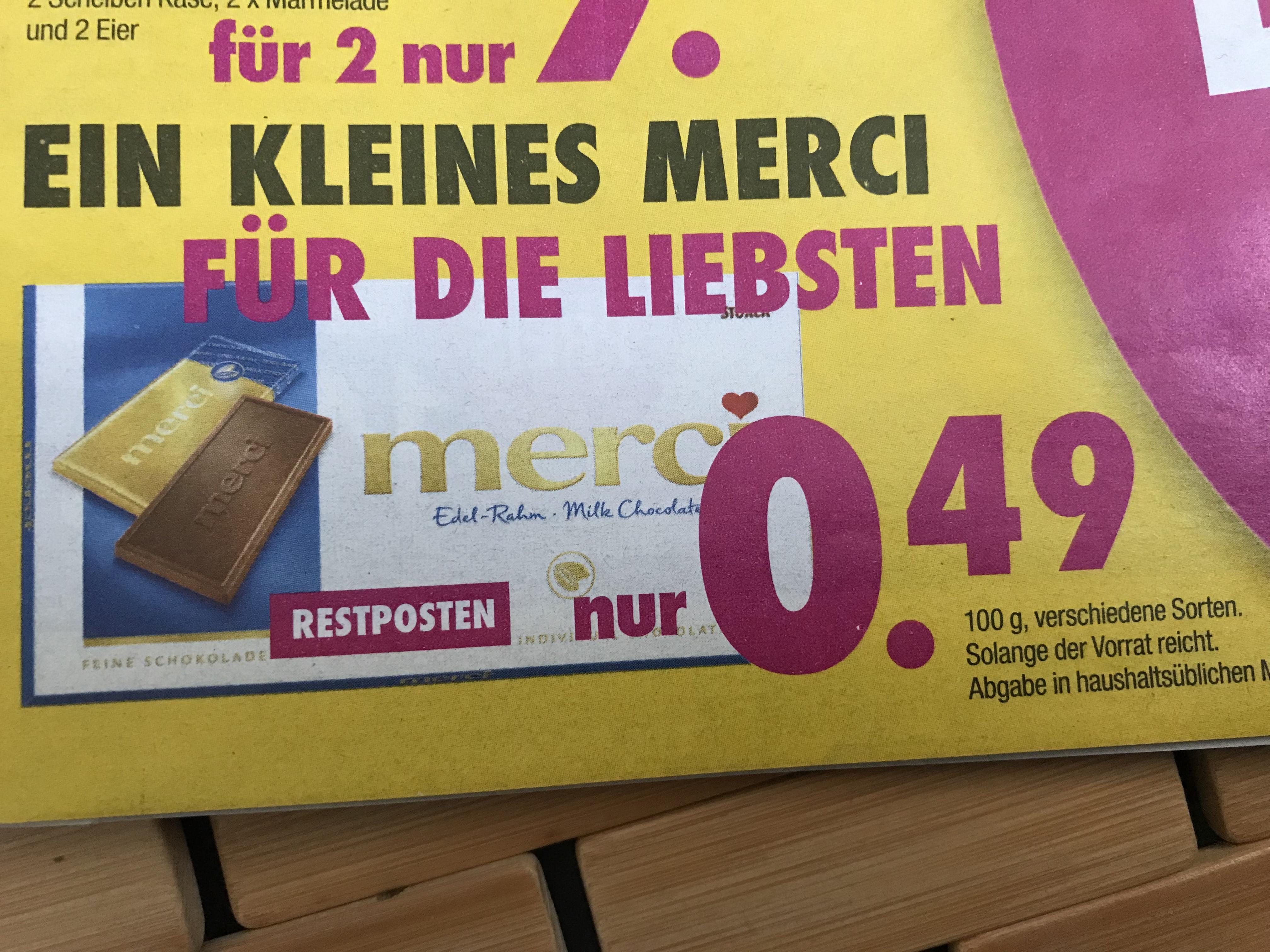 [Hardeck] Merci Tafelschokolade nur 0,49€ verschiedene Sorten