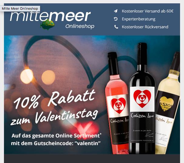 10% Valentinstag Gutschein im Mitte Meer Shop - Wein und Mediterrane Lebensmittel