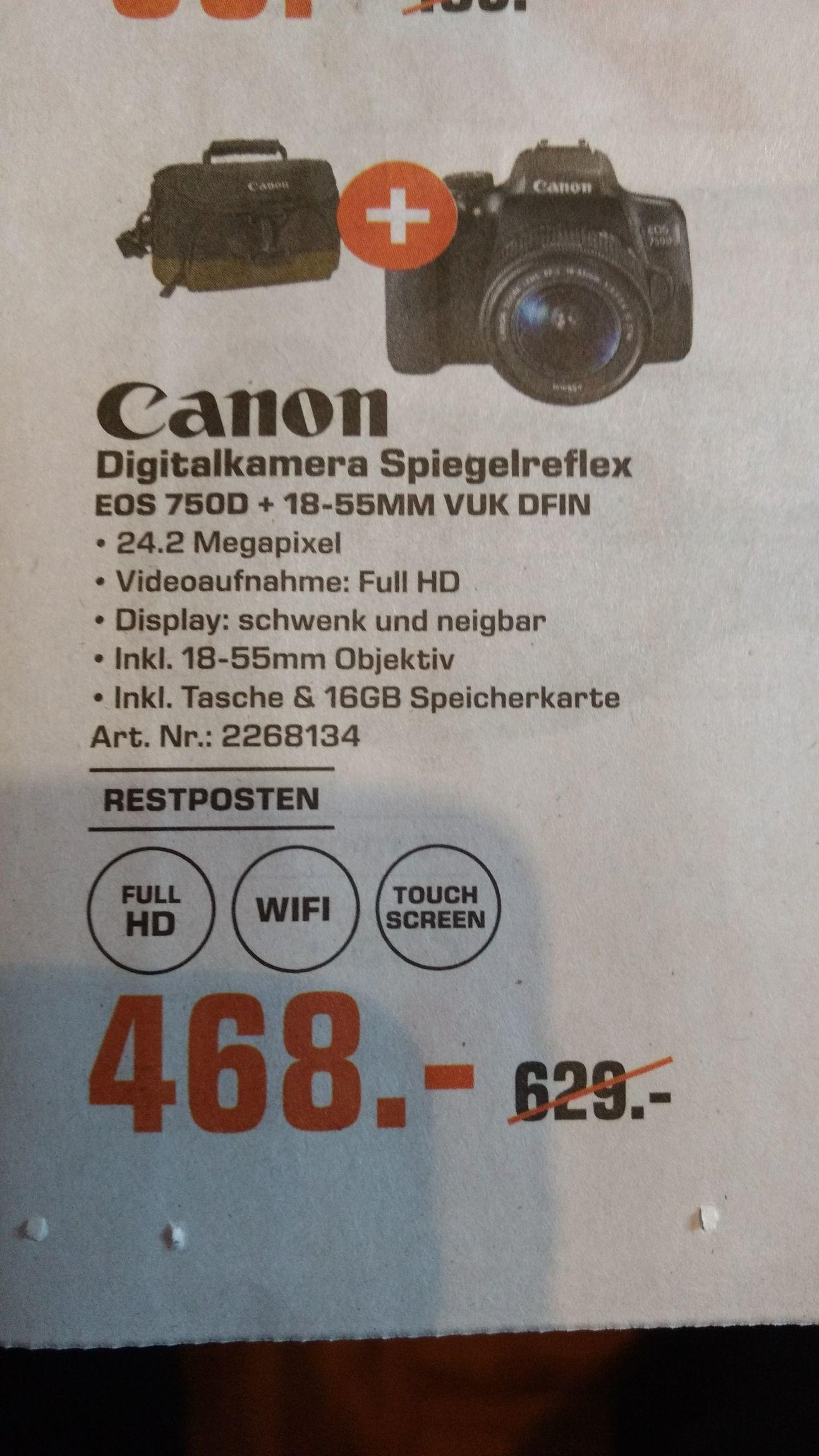 [Lokal - Saturn Bochum] Canon 750D + 18-55mm Kit + Tasche