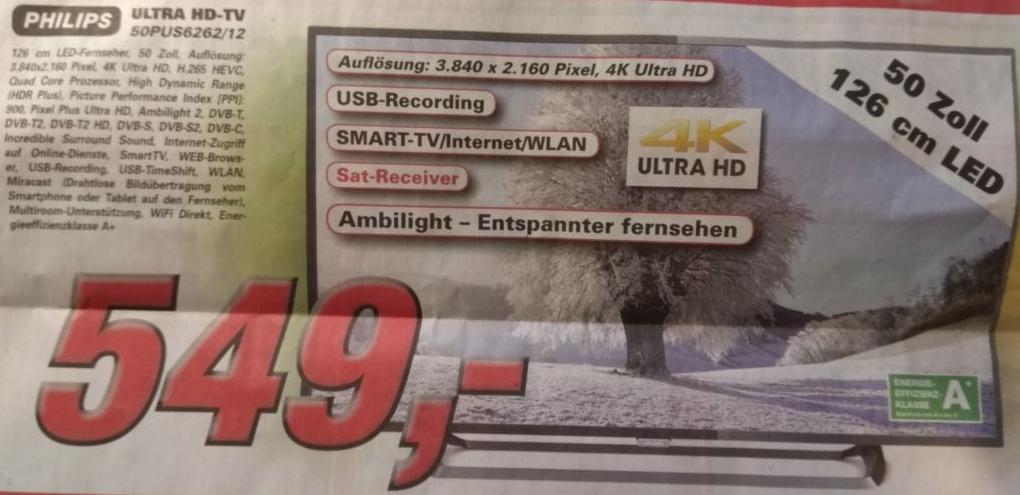"""[lokal - 46325 Borken] Philips 50PUS6262/12 - 50"""" 4K UHD TV mit Ambilight"""
