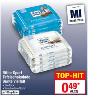 [Metro] 5 * Ritter Sport Bunte Vielfalt für 2,60€ (0,52€ pro Tafel) am 28.02.