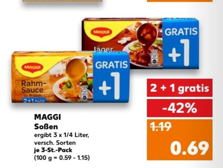 Maggi Soßen 8x für 3,52 im Kaufland vom 22.02 bis 28.02 (Coupon) (Stückpreis 44 Cent)