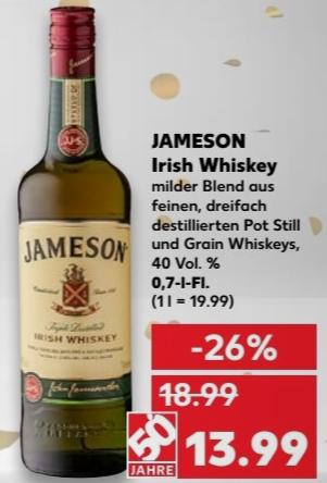 Jameson Original Irish Whiskey - 0,7l Flasche ab 13,99 € @ Kaufland ab 22.02.