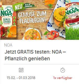 [Coupies] 100% Cashback auf NOA Produkte, Hummus mit 0,40€ Gewinn durch Marktguru-App