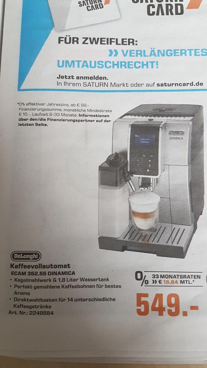 DELONGHI ECAM 352.55.S DINAMICA, Kaffeevollautomat Bestpreis lt. Idealo Saturn Lokal Hamburg?