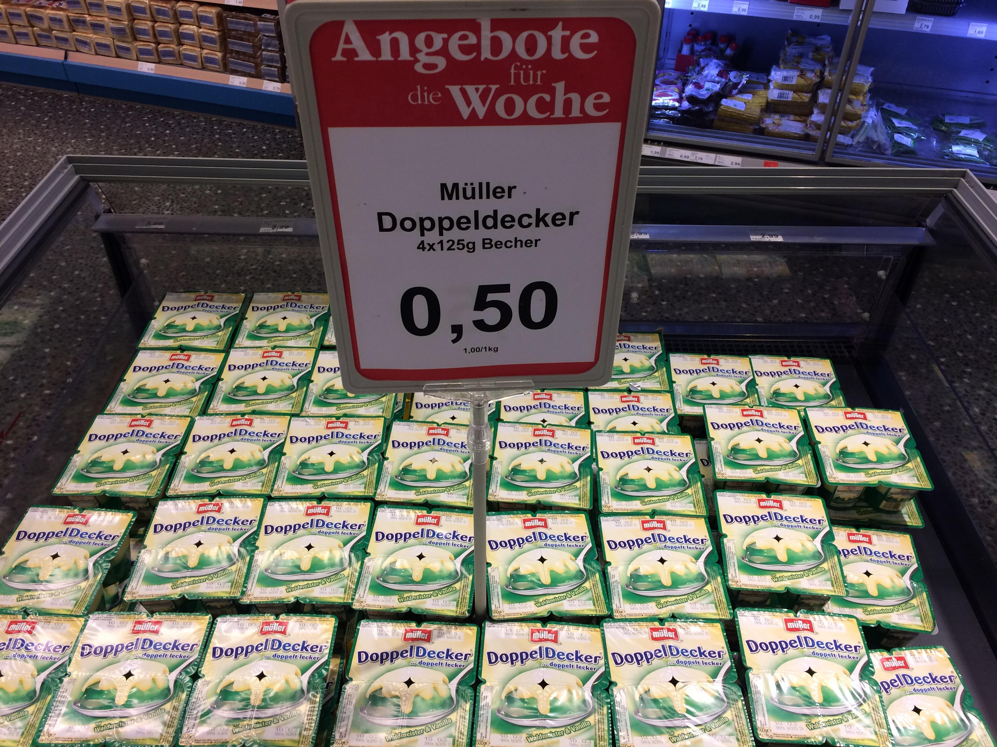[Lokal] Schleswig - Sky Supermarkt - Müller Doppeldecker Waldmeister & Vanille (4x125g) MHD: 10.3