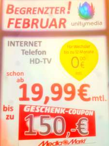 (Lokal) 150 € Media Markt Coupon Plus Wechslerbonus im Media Markt Weiterstadt Unitymedia