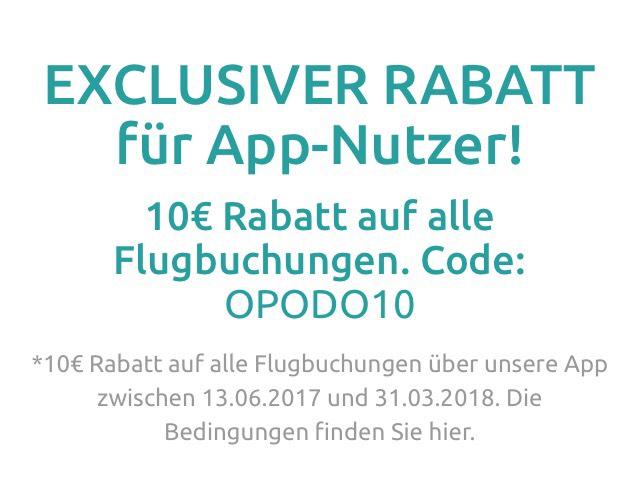 OPODO 10€ Gutschein auf alle Flüge