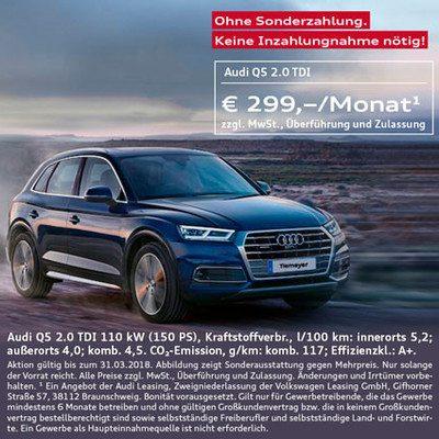Gewerbeleasing - Audi A4 Avant 199 €, A5 Sportsback 249 €, Q5 299 € Netto pro Monat