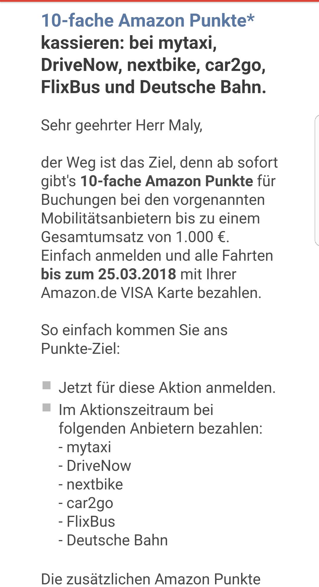 [Amazon Kreditkarte] 10fach Punkte (5%) für Buchungen bei DB, Flixbus, Nextbike, DriveNow, mytaxi und car2go