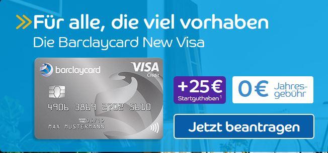 Barclay New VISA Karte mit 25€ Startguthaben + 20€ Shoop Cashback